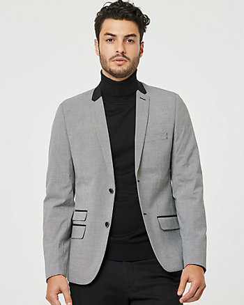 Check Print Cotton Slim Fit Blazer