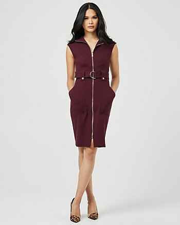 Double Weave Zip-Front Funnel Neck Dress