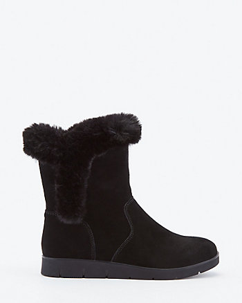 Faux Fur & Suede Ankle Boot