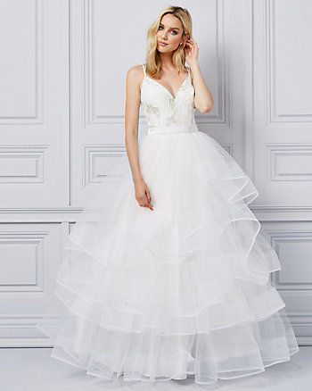 Embroidered Tulle Deep-V Ball Gown