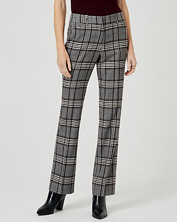 Check Print Viscose Blend Flared Leg Pant