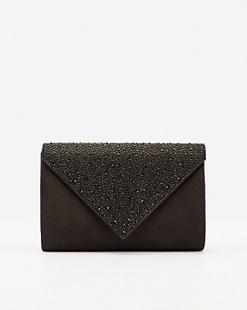 Jewel Embellished Satin Envelope Clutch