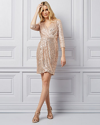Sequin Wrap-Like Dress