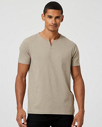 T-shirt à encolure fendue en mélange de coton