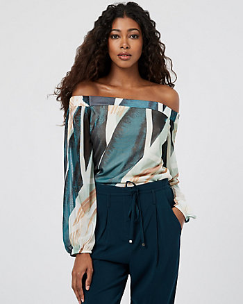 Abstract Print Knit Off-the-Shoulder Top