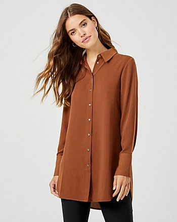 Crêpe de Chine Button-Front Tunic Blouse