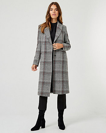 Check Print Notch Collar Coat