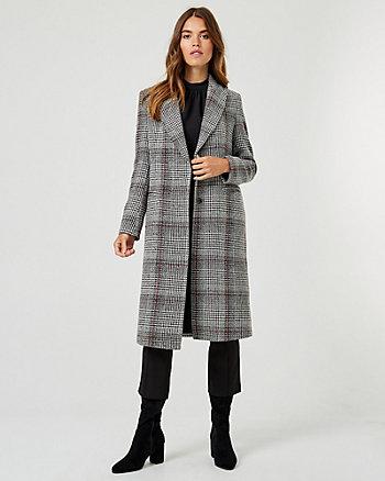 Manteau à col cranté et motif de carreaux