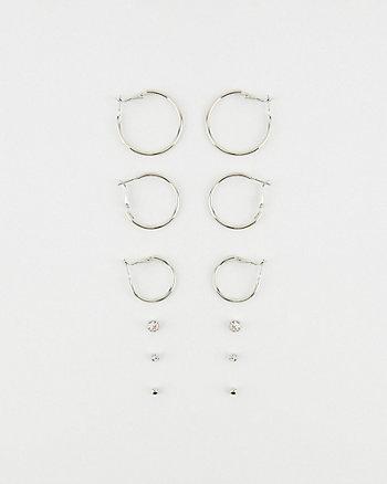 Stud & Hoop Earrings Set