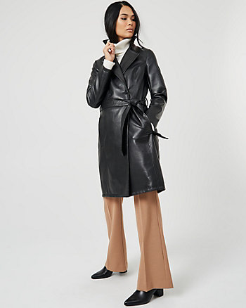Faux Leather Notch Collar Coat
