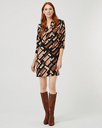 Geo Print Crêpe de Chine V-Neck Tunic Dress