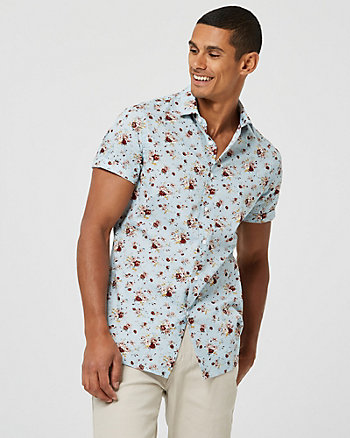 Floral Print Cotton Athletic Fit Shirt