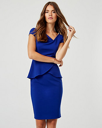 Knit Crêpe Asymmetrical Neck Peplum Dress
