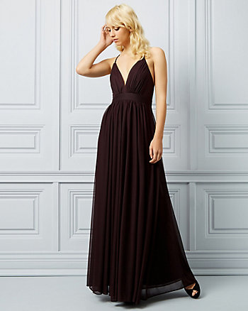 Sheer Knit Deep V-Neck Gown