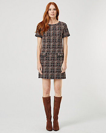Check Print Jacquard Knit Tunic Dress