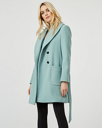 Stretch Melton Knit Shawl Collar Coat