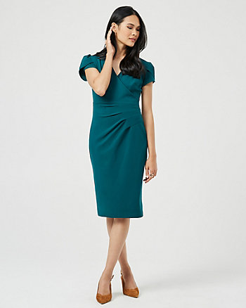 Knit Crêpe Wrap-Like V-Neck Dress