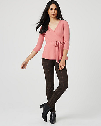 Check Print Double Knit Skinny Leg Pant
