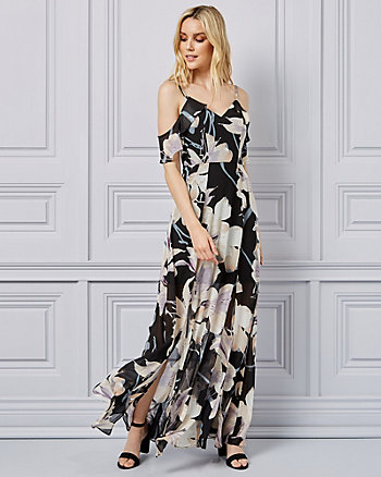 Floral Print Cold Shoulder Gown
