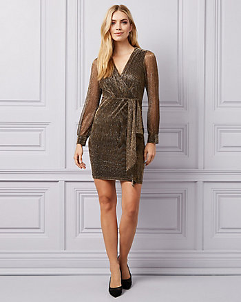 Metallic Knit Wrap-Like Dress