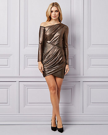 Metallic Knit One Shoulder Dress