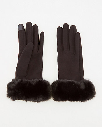 Faux Fur Touchscreen Gloves