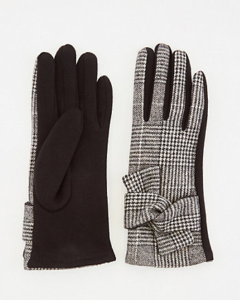 Check Print Cotton Blend Touchscreen Gloves