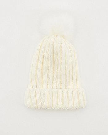 Rib Knit Faux Fur Pom-Pom Beanie