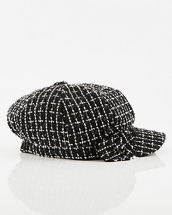 Check Print Bouclé Poor Boy Cap