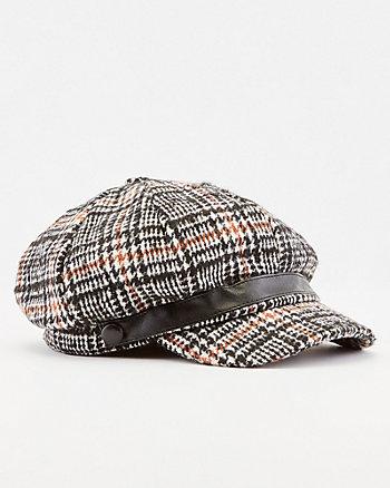 Check Print Poor Boy Hat