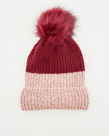 Rib Knit Pom-Pom Beanie