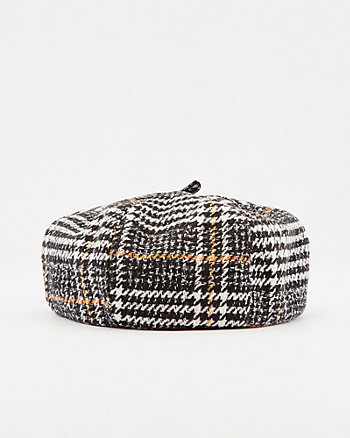 Check Print Cotton Blend Beret Hat