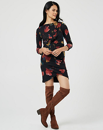 Floral Print Knit Pleat Neck Dress