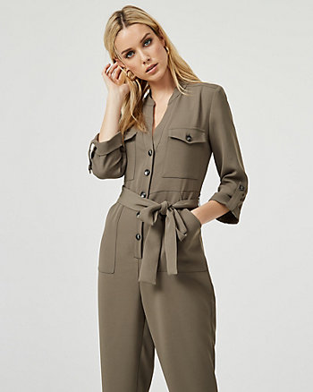 V-Neck Slim Leg Jumpsuit