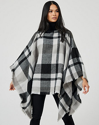 Check Print Turtleneck Poncho