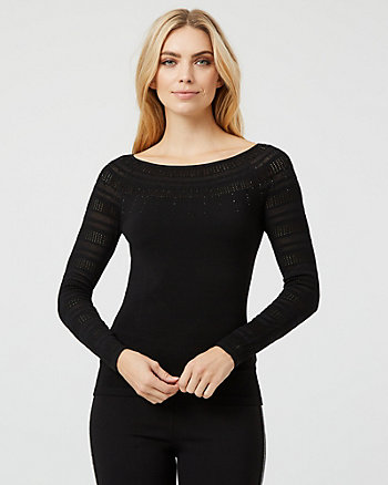 Embellished Knit Boat Neck Sweater