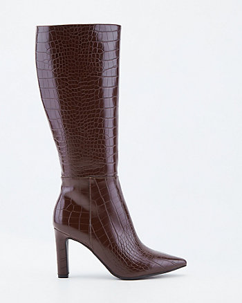 Croco Embossed Faux Leather Knee-High Boot