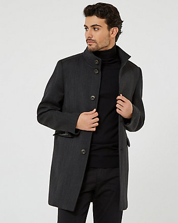 Wool Blend Funnel Neck Top Coat