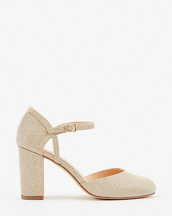 Metallic Round Toe Mary Jane Pump