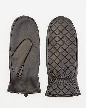 Quilted Leather Mittens