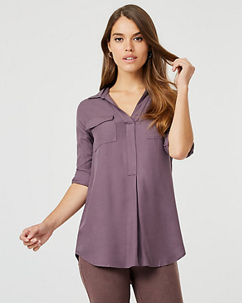 Viscose V-Neck Tunic Blouse