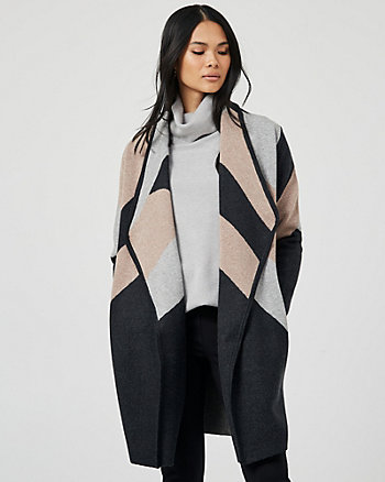 Stripe Knit Waterfall Sweater Coat
