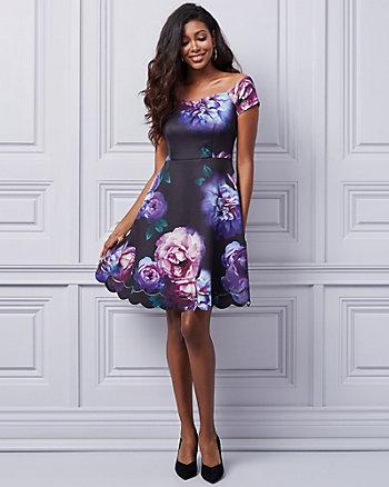 Floral Print Knit Off-the-Shoulder Dress