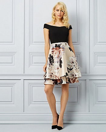 Floral Print Twill Off-The-Shoulder Dress