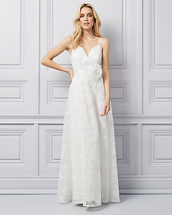 Embroidered Knit V-Neck Gown