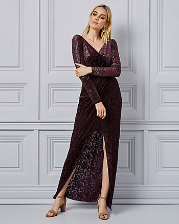 Foiled Burnout Velvet Wrap-Like Gown