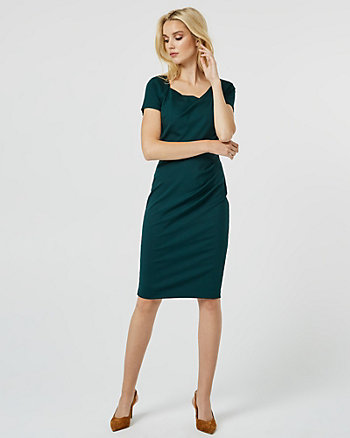 Ponte Knit Asymmetrical Boat Neck Dress