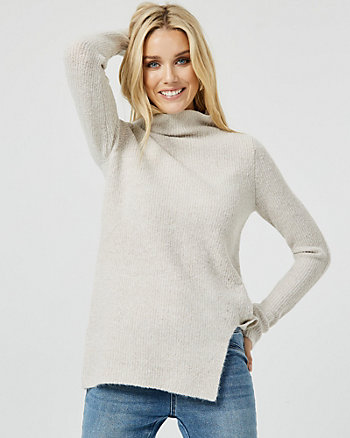 Bouclé Knit Funnel Neck Tunic Sweater
