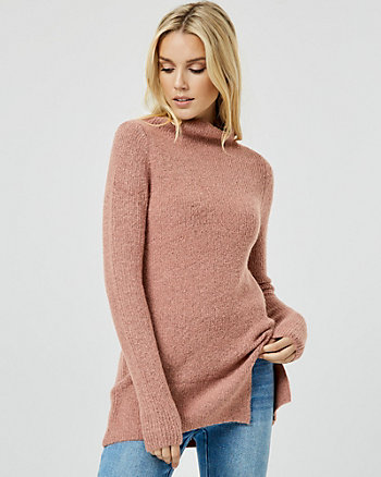 Bouclé Knit Funnel Neck Tunic Sweater