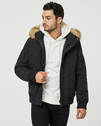 Hooded Viscose Blend Puffer Bomber Coat